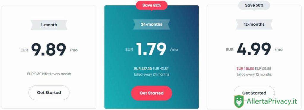 Prezzi sugli abbonamenti Surfshark