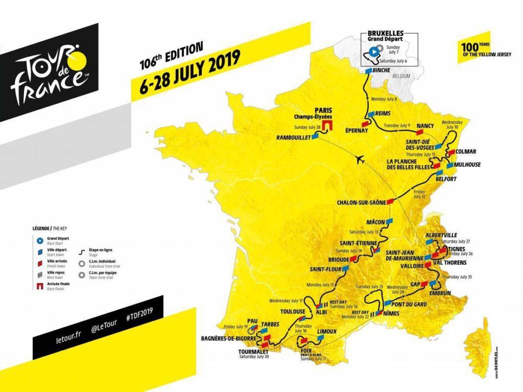 Le tappe el Tour de France 2019