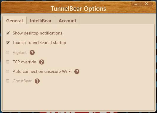 TunnelBear - Opzioni generali